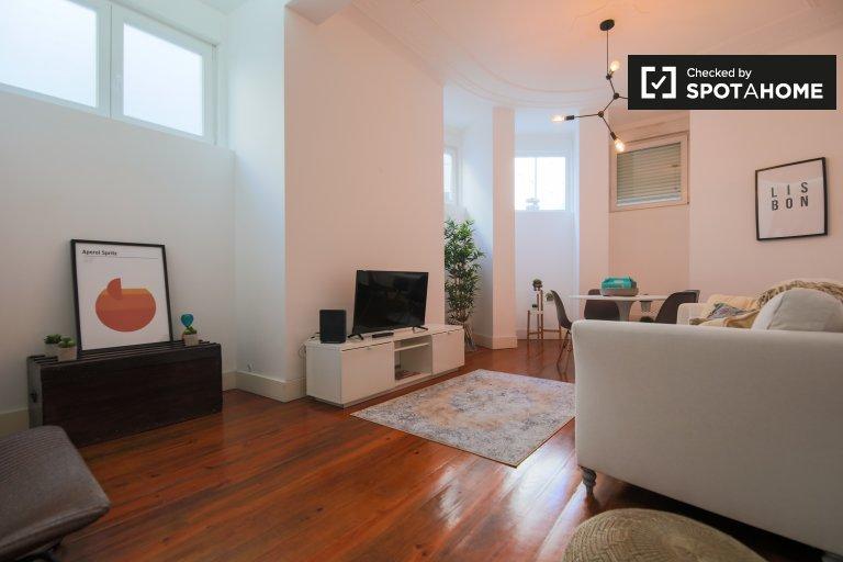 Apartamento de 1 quarto chique para alugar em Arroios, Lisboa