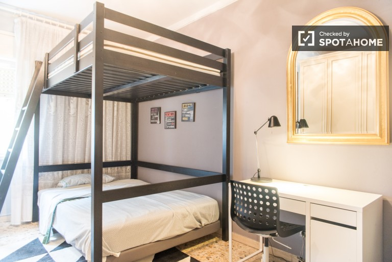 Bunk Beds in Beds in a shared room for rent in a fashionable apartment  on Via Tiburtina, Rome