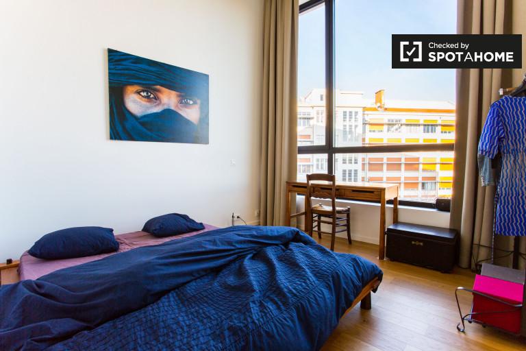 Camera esterna in appartamento con 2 camere da letto a Anderlecht, Bruxelles