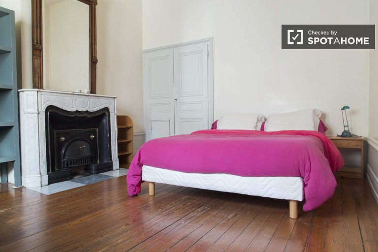 Double Bed in Luminous Room for Rent for Student in a Luxury Mansion in Brotteaux