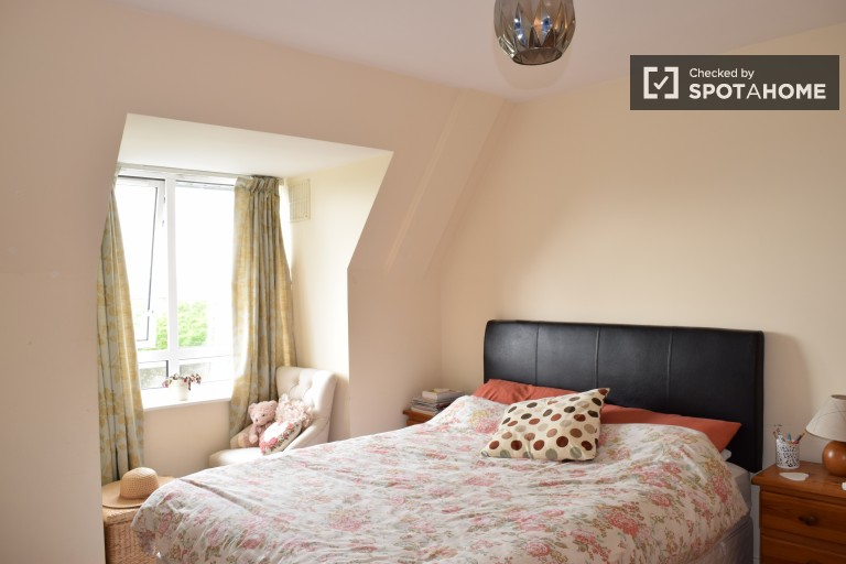 Bedroom 1 with double bed and desk