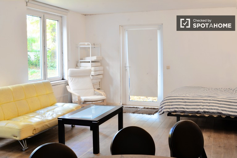 Renovated studio apartment with Patio and shared garden access in Ixelles
