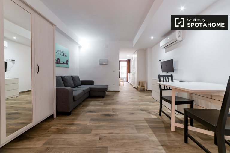 Modern studio apartment for rent in Cabañal, Valencia